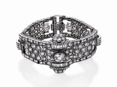Important watch-bracelet<br>in platinum and diamon